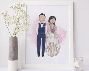 Custom Wedding Couple Illustration