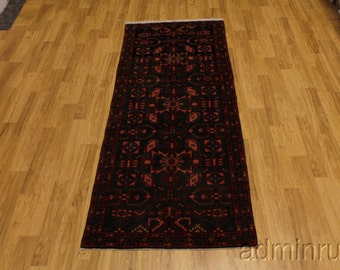 Thick Navy Blue Lilian Hamedan Runner Persian Oriental Area Rug Carpet 3'6X10