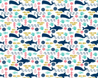 Nautical Crib Sheet, Nautical Changing Pad Cover, Pink Coral Blue Whales, Whales Crib Sheet, Nautical Baby Girl Nursery, Whale Baby Bedding