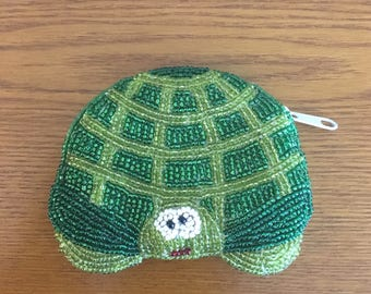 Vintage Beaded Turtle Coin Purse- Turtle Shaped Wallet- Beaded Change Purse