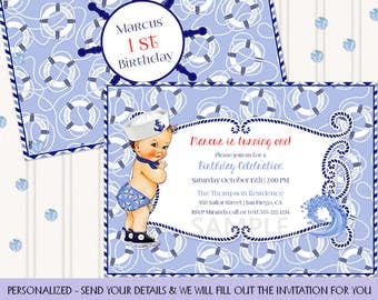 Little Sailor Vintage Baby Boy | Nautical Navy Blue | Personalized Digital Invitation