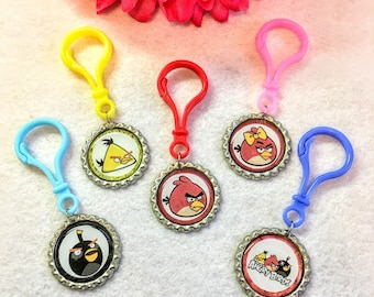 10 Pcs Angry Birds  Multicolor Zipper Pull Party Favors.