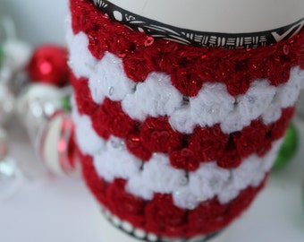 Holiday Cheer Cup Sleeve (Handmade crochet coffee cup cozy, to-go cup sleeve)