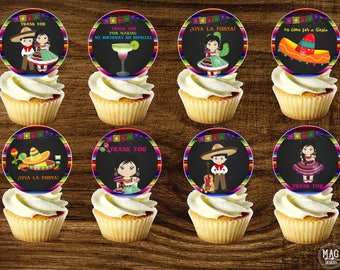 Mexican Cupcake Toppers , Mexican Fiesta, Mexican Favor Tags, Stikers. DIGITAL FILE. Instant Download