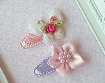 Baby Clip - Infant Toddler Clip -  Baby Snap Clips Set of 2  - Pink Flower - White Butterfly