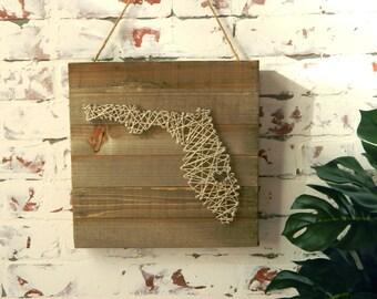 Florida String Art // Wood Wall Art / Home Decor Wall Art / Home Decor Rustic / Home Decor Signs / Home Decor Gifts / Home Decor Wood Signs