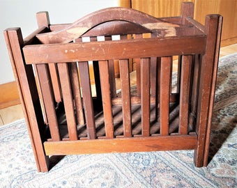 Mission Style Magazine Rack Oak Slatted Sides Beaded Corners Magazine Holder Living Room Furniture Vintage Magazine Towel Toy Holder