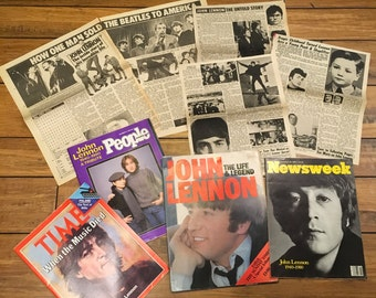 Vintage John Lennon Magazine The Beetles lot, people, Newsweek, time, the Sunday times, newspaper, 1980, collector, music, rock and roll