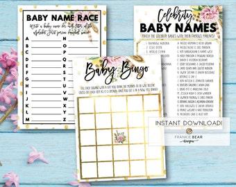 Baby shower game set, baby shower games, boho baby shower games, printable baby shower games, baby shower game bundle, boho, game (Callie)