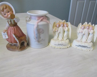 Vintage Birth Month Figurines Enseco  January E7929 Precious Moments February Trio of Angels March December    484