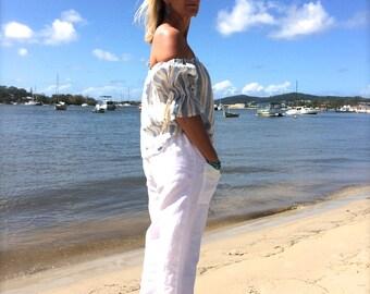 Santorini sliders - white linen pants with lace