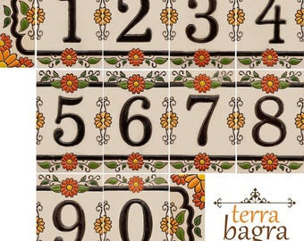 Handmade Ceramic House Number tiles MARIGOLD - Large size