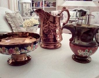 Lot of vintage copper luster