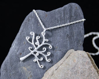 """Solid Sterling Silver Scots Pine Tree Necklace with 18"""" Sterling Silver Curb Chain"""