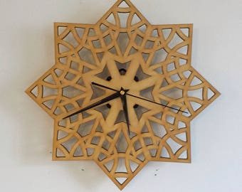 Laser Cut Wood Wall Clock | Handmade Decorative Art Wall