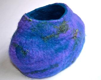 Hand Felted Purple Wool Vessel