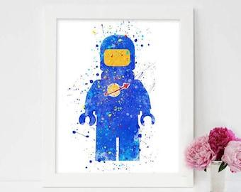 Lego Print, Lego Minifigure Poster, Benny Lego art print Watercolor Painting, Home Decor, Wall Art, Kids Gift, Nursery Decor