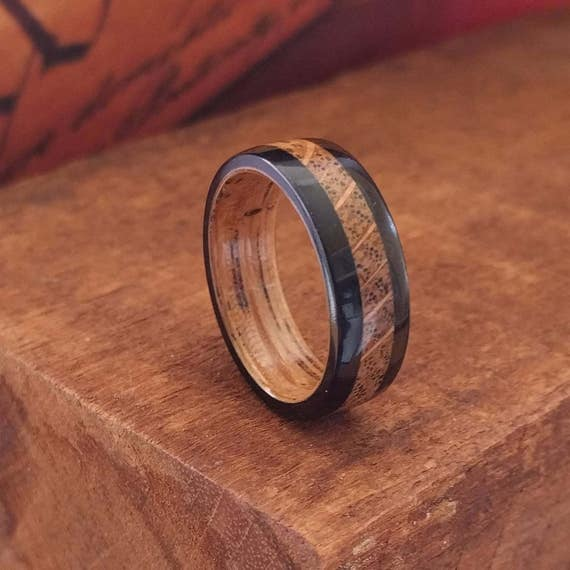Whiskey Barrel Wood Ring - Wooden Wedding Ring  Mens Wooden RIngs Woman's ring Wood Engagement Ring Reclaimed Wood Anniversary