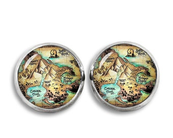 Neverland Map Stud Earrings Neverland Map Earrings Peter Pan Fandom Jewelry Cosplay Fangirl Fanboy