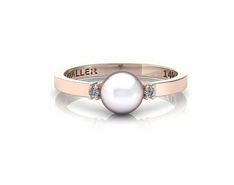 14k Rose Gold Engagement Ring - Pearl Engagement Ring - Diamond Engagement Ring - Dainty Ring - Pearl Jewelry - 14k Gold Ring - Pearl Ring