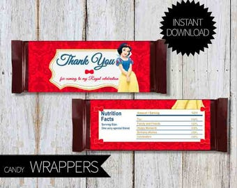 Snow White Birthday Party  PRINTABLE Candy Wrappers- Instant Download | Princess Snow White | Disney| Chocolate Wrapper