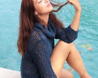 Boho Crochet Dress-sweaters-knit wear-long-sweater-turtleneck knit dress-knit sweater-crochet dress Hippie Festival