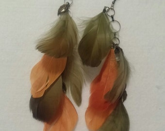 Green and Orange Feather Earrings
