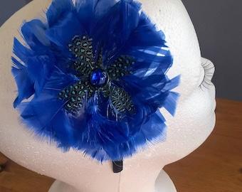 blue feather flower headband