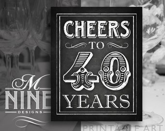 "Chalkboard Printable Art ""Cheers to 40 Years"" Sign Download, 40th Birthday Party Sign, Chalk Party Sign BWC44"