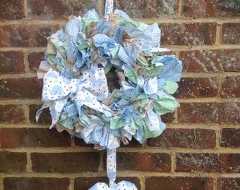 Handmade rag wreath shabby/baby/nursery/home decor new