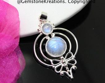 Moonstone Pendant, Moonstone Necklace, Moonstone Jewelry, Rainbow Moonstone, Sterling Silver Pendant