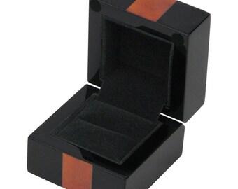 Piano Black and Maple Burl Ring Box (001MYG)