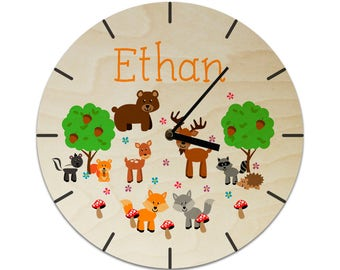 Forest Woodland Animals BearDeer Fox Wolf Racoon Toddler Personalised Childrens Clock / Kids Clock