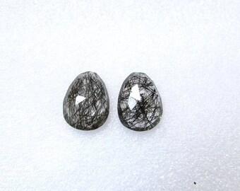 2 pieces pair BLACK Rutilated Rosecut Uneven Cabochon rosecut ( 15.5x12mm - 2 pcs ) Black Rutile Faceted Irregular Rosecut Cabochon Gemstone