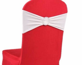 White Elasticity Stretch Chair cover Band with Buckle Slider Sashes Bow Decor