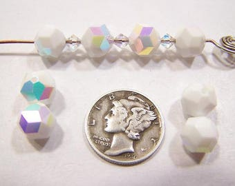 Swarovski 5007 Chalk White AB 8mm Vintage Faceted Crystal Beads (6 pieces)