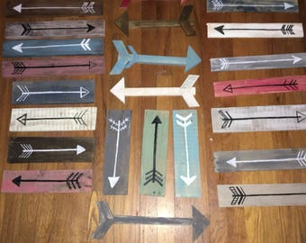 Wooden painted arrows