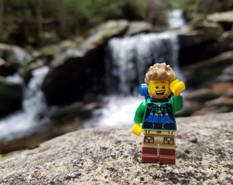 Lego Photography - Hiker with Waterfall