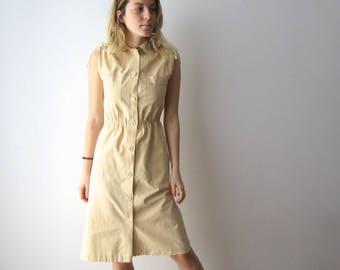 Vintage Cotton Dress Sand Beige Shirt Dress Small Size Retro Dress Button Up Sleeveless Dress 70s 80s Summer Dress