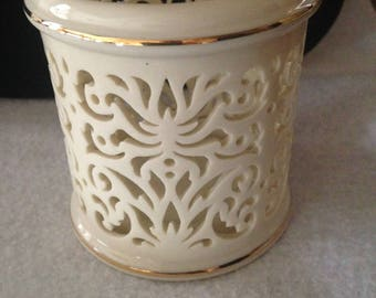 Lonex pierced fine china tea light candle holder