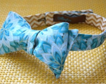 White Gold Chevron/Ombre Teal Leaves Bow Tie