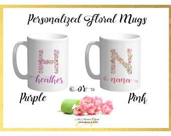 Peronalized Floral Mug