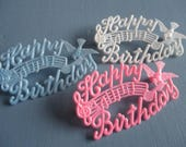 RESERVED for RANDI Vintage Cake Decoration, Happy Birthday, Plastic, Set of Three, Pink, Blue, White, Birds, Music Notes, Cake Toppers, MCM
