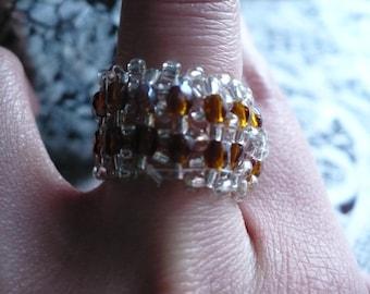 Interlace Ring Bronzepony Amber Crystal  Glass Bicones