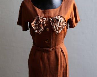 Women's Genuine 1960's Emma Knuckey Dress with Belt and Coat Irish Linen