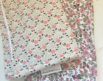Set of 2 x Handmade Baby Burp Cloths - Floral