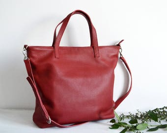 LEATHER TOTE BAG, Red Tote Bag, Oversize Top Zip Red Tote - Italian Pebbled Leather Tote Bag - London Bag -