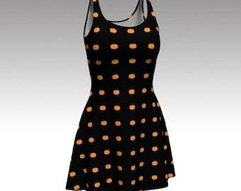 Pumpkin Dress, Halloween Dress, Orange and Black, Black Dress, Flare Dress, Skater Dress, Bodycon Dress, Fitted Dress, Fit and Flare Dress