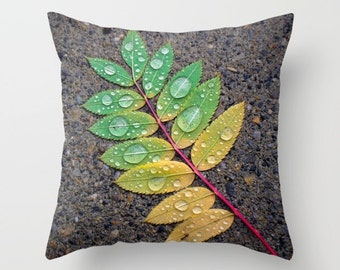 Leaf Pillow, Leaf Throw Pillow, Nature Pillow, Raindrop Leaf, Green Pillow, Rainbow Pillow, Throw Pillow Cover, Sofa Pillow, Accent Pillow