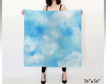 Blue Sky Scarf, Cloud Scarf, Blue and White Scarf, Chiffon Scarf, Square Scarf, Long Scarf, Cloudy Sky, Soft Clouds, Fluffy Clouds, White